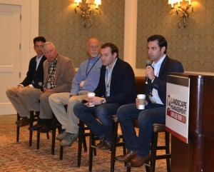 Matt and Chris Noon (far right) speak at a breakfast panel at the third annual Landscape Management Lawn Care Forum.