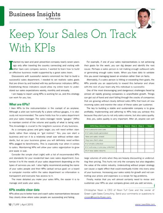 Turf, April 2015, - Keep Sales on Track with KPIs